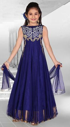 Fantastic Blue Net Designer Readymade Princess Kids Gown