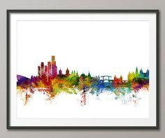 Amsterdam Skyline, Amsterdam The Netherlands Cityscape Holland, Art Print (1266)