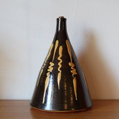 Lamp base, slipware pottery, retro, brown and cream, 1970's, terracotta by 20thCenturyParade on Etsy
