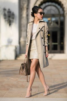 This classic Burberry trech looks ultra chic worn with nude pink heels and a matching nude top and skirt. By keeping this look neutral, Wendy Nguyen has achieved a gorgeously minimalistic style which we love. Top: J. Brand, Trench: Burberry, Skirt: Banana Republic, Bag: Yves Saint Laurent, Shoes: Christian Louboutin.
