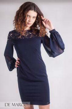 597b5bedd1 De Marco granatowa sukienka na komunię dla mamy z długim rękawem.  demarco   frydrychowice  sukienka  wesele  bal  moda  wf  styl  beautiful ...