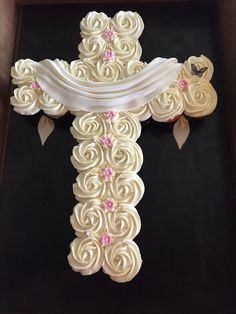 Cross pull apart cupcake cake with butterfly. Baptism