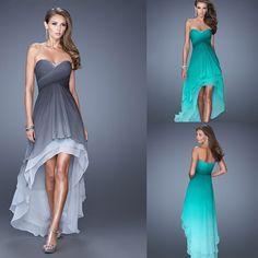 LIR087 Stunning Sweetheart Criss Cross Ruching Bodice  Tiered High Low Skirt  Ombre Dyed Chiffon Prom Dress