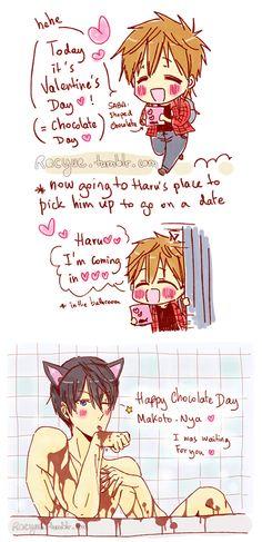 Happy Valentine ... part 1 ... Drawn by racyue ... Free! - Iwatobi Swim Club, haruka nanase, haru nanase, haru, free!, iwatobi, makoto tachibana, makoto, tachibana, nanase