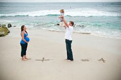 creative family portrait - having fun with maternity pregnant belly session and toddler on the beach  in La Jolla San Diego at sunset    pregnant belly + toddler and dad = 4  www.rachelmcfarlinphotography.com