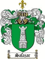 Salazar Coat of Arms / Salazar Family Crest  The associated coat of arms for this name are recorded in J.B Rietstaps Armorial General. Illustrated by V & H.V Rolland's. This Monumental work took 23 years to complete and 85,000 coats of Arms are included in this work. The surname of SALAZAR is a Spanish and Portugese habitation name, originally of Basque origin. In some cases the name may have derived from a place so named in the province of Burgos.