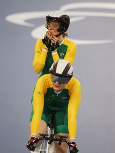 Stephanie Morton and Felicity Johnson of Australia celebrate winning gold in the women's Individual B 1km Cycling Time Trial on Day 2 of the London 2012 Paralympic Games at the Velodrome.