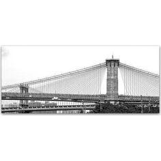 Trademark Fine Art Brooklyn Bridge 5 inch Canvas Art by CATeyes, Size: 14 x 32, Gray