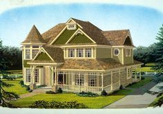 Country Farmhouse Victorian House Plan 95686