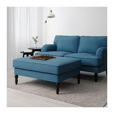 STOCKSUND Hocker - schwarz, Ljungen blau - IKEA