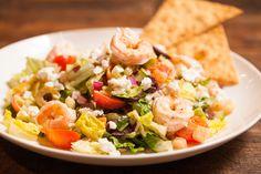 Life Balance Mediterranean Salad with Shrimp -  Cucumbers, Red Onion, Asparagus, Kalamata Olives, Giardiniera, Sweet Grape Tomatoes, Feta Cheese,  Mediterranean Vinaigrette chwinery.com
