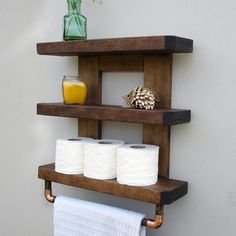 ♥ Each Shelf is HANDMADE IN PENNSYLVANIA, USA  A nicely rustic yet elegant touch for your bathroom. This beautifully handcrafted shelf and towel rack will enhance any…