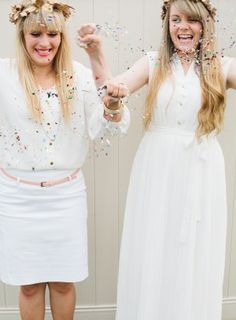 Pretty girls throwing confetti.  Perfect for a birthday party or wedding or even a bridal shower.