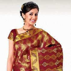 Maroon and Golden Pure Kanchipuram Silk Saree with Blouse