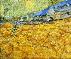 Wheat field behind Saint Paul Hospital with a reaper  1889