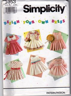 Simplicity Sewing Pattern 7353, Design Your Own Little Girls Party Dress or Sundress, Girls Sizes 2 to 6X, Simplicity 7535, Uncut by OnceUponAnHeirloom on Etsy