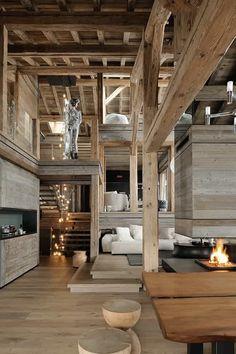 Modern Cabin Interior, Chalet Interior, Best Living Room Design, Living Room Designs, Chalet Design, Ski Chalet, Cabin Homes, The Ranch, Architecture Design