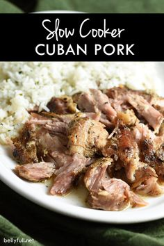 Slow cooked all day until the meat cuts like butter, this Slow Cooker Cuban Pork is so delicious and perfect served over rice, in tacos, or as sandwiches. Meat Cooking Times, Cooking Games, Cuban Recipes, Crockpot Recipes, Pork Recipes, Slow Cooker Recipes, Cooking Recipes, Meal Recipes, Yummy Recipes