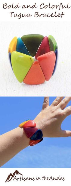 This chunky bracelet is set with large tagua beads, each polished to a high shine and glowing in a different color. This bracelet will become a favorite that you will reach for again and again to bring bold color to casual outfits.