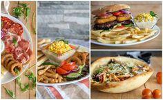 """Mártogatós tálak, """"Elnöki ügy"""" börgerünk és Herkules salátánk a képen pizzakenyérben. #veszprem"""