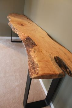 LIVE EDGE MAPLE HARVEST CONSOLE TABLE WITH METAL BASE