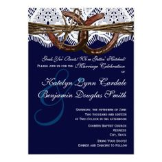 Getting Hitched Navy Blue Horseshoes and Lace Rustic Country Wedding Invitations