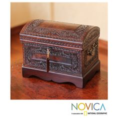 Novica Colonial Treasure Chest with Bronze Lock Key and Handles Hand Tooled and Mohena Wood Artisan Jewelry Box