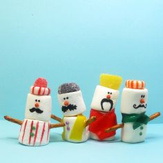 13 Snowmen Sweets Guaranteed to Melt Your Heart Mustachioed Marshmallow Snowmen Christmas Sweets, Christmas Goodies, Holiday Desserts, Holiday Treats, Holiday Fun, Christmas Time, Christmas Crafts, Xmas, Snowman Crafts