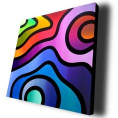 Supersonic Rainbow  20x20 acrylic on box canvas by A Hone