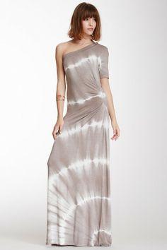 One-Shoulder Tie-Dye Maxi Dress by Fraiche By J on @HauteLook