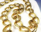Long chunky gold necklace, large gold chain, double curb gold chain, vintage gold chain necklace, gold runway statement necklace