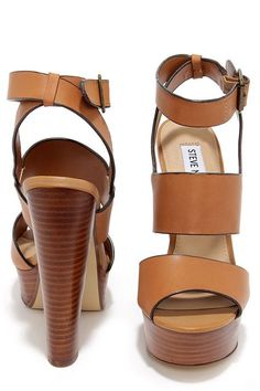 978b8a759 Steve Madden Dezzzy Tan Leather Platform High Heels. Strappy Sandals ...