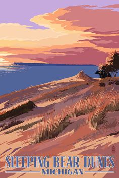 Sleeping Bear Dunes, Michigan - Dunes Sunset and Bear (Art Prints available in multiple sizes) by NightingaleArtwork on Etsy https://www.etsy.com/listing/243396272/sleeping-bear-dunes-michigan-dunes
