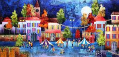 Evening Market I - Original painting by artist Rozanne Bell.