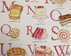 Cake Alphabet Illustrated Giclée Print Wall Art - Prints and Posters Red Velvet Cake Roll, British Cake, Queen Cakes, Jaffa Cake, Alphabet Art, Kitchen Wall Art, Paper Dimensions, Cake Art, Botanical Prints