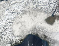 February 2012 Historic Cold Wave Hits Northern Italy - Satellite Image of Po Valley covered by snow