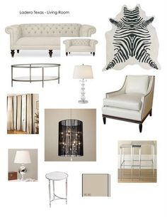 Above is my latest inspiration board for my client in Ladero Texas. This was a great project to work on since I also decorated her dining room as well. The client wanted the space to be modern but have a some glamorous elements to it as well. The space was rather large so I was able to accommodate 2 sofas and a pair of chairs. The client wanted the space the to be filled with white pieces that had some glass and mirror so I went for the Chippendale tufted sofas and luxe white arm chairs.