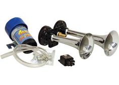 OUR DIRECT DRIVE AIR HORN SETS ARE A GREAT, SIMPLE UPGRADE FOR A FACTORY HORN. THEY COME AS A COMPLETE KIT, READY FOR AN EASY INSTALL WITH A DIRECT DRIVE COMPRESSOR, MOUNTING HARDWARE, AND RELAY. THE CHROME PLATED METAL TRUMPETS WILL NOT CRACK OR BREAK LIKE LESSER PRODUCTS WITH THIN PLASTIC TRUMPETS. THEY ARE ALSO GREAT FOR USE WITH CAR ALARMS OR MOTORCYCLES. Please call 1-866-658-7952 for pricing and availability.