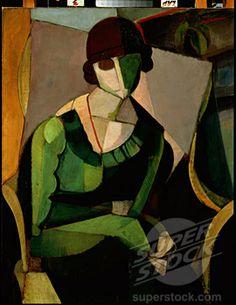 Portrait of a Lady in Green 1915 Angel Zarraga (1886-1946/Mexican ...
