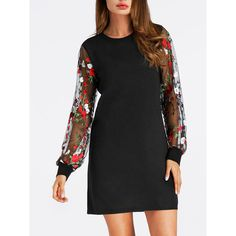 Round Neck See-Through Floral Embroidery Shift Dress ($28) ❤ liked on Polyvore featuring dresses, floral dresses, print shift dress, floral print dress, sheer floral dress and long-sleeve floral dresses