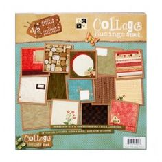 """Collage Musings Stack  Stack comes with 48 sheets of 12""""x12"""" Printed Acid & Lignin Free Cardstock, 24 accented with glitter or gloss.Varying shades of olive greens, robin egg blues and amaranth reds, complimented by a palette of chocolate browns and sunflower yellows come together to create a true vintage treasure. The designs in this premium paper stack are versatile; put them to work on a beautiful wall decor sign, embellish a paper-mache letter, or use the prints as your backdrop for a..."""
