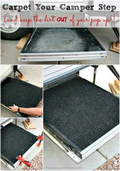 Tips and Hacks for the best camping experience Adding carpet to our camper step really helped cut down on the amount of dirt that made it into the pop up. Best idea ever! -Read More – - Camper Hacks, Diy Camper, Camper Life, Camper Trailers, Rv Life, Retro Trailers, Rv Hacks, Travel Trailers, Popup Camper Remodel
