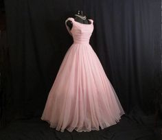 Vintage 1950's 50s Bombshell Emma Domb PINK Ruched Chiffon Organza Party Prom Wedding Dress Gown by VintageVortex on Etsy https://www.etsy.com/listing/212774360/vintage-1950s-50s-bombshell-emma-domb