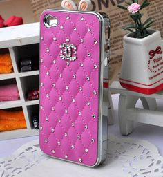 Gypsophila paniculata  Crystal Chanel double C Imitation Leather Rose cell phone case for  iPhone 4s or iphone4 cover Free Shipping to USA. $19.80, via Etsy.