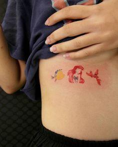 Disney Tattoos That Minimalist Fans Will Love - - Disney Tattoos Ariel, Matching Disney Tattoos, Disney Inspired Tattoos, Disney Tattoos Small, Small Tattoos, Disney Castle Tattoo, Temporary Tattoos, Little Mermaid Tattoos, Little Tattoos