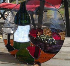 Still Life - Delphi Stained Glass Wine bottle glass and grapes