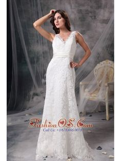 White Column V Neck Lace Wedding Dress Belt Brush Train