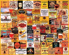 WHITE MOUNTAIN PUZZLES, Whiskey Labels. Do it yourself jigsaw puzzle, boxed attractively with the picture of the puzzle on the cover. (Product#: WMP-963) #Vintage #Alcohol #Hobby
