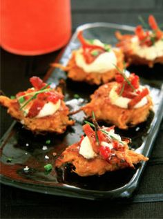 CANAPES!! Bacon and sweet potato rosti http://www.marieclaire.co.uk/lifestyle/recipes/170280/bacon-and-sweet-potato-rosti.html http://www.pinterest.com/ikonworks/ https://www.facebook.com/pages/Ikon-Works/335268166553005 #rockmywinterwedding @Rock My Wedding
