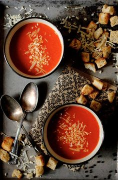 Tomato Soup, with croutons made from Asiago Cheese Bagels?  Yes.  And while you're at it, leave just a sprinkle of cheese for the soup.   ~~ Houston Foodlovers Book Club